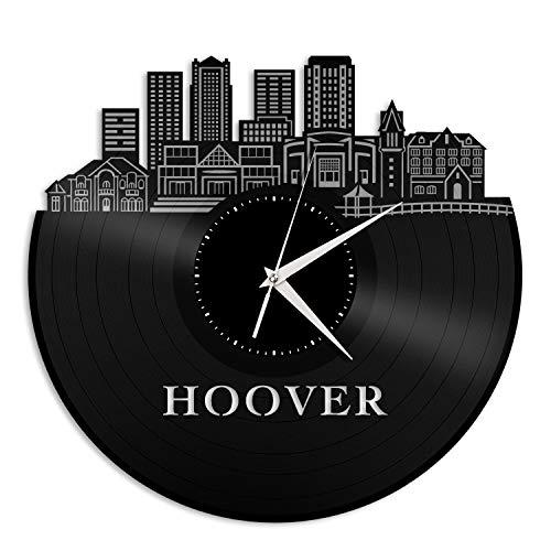 VinylShopUS - Hoover AL Vinyl Wall Clock City Skyline Souvenir Best Gift for Friends Office and Bedroom | Home Anniversary Decoration