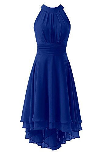 Kevins Bridal Women's High Low Short Bridesmaid Dresses Chiffon Halter Prom Dress Royal Blue Size -