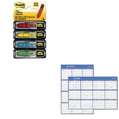 KITAAGA1102MMM684SH - Value Kit - At-a-Glance Vertical/Horizontal Erasable Wall Planner (AAGA1102) and Post-it Arrow Message 1/2amp;quot; Flags (MMM684SH)