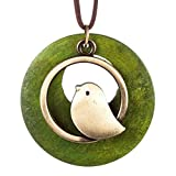 MOONQING Round Wood Pendant Necklace Creative Bird Pendant Necklace Ethnic Style Necklace,Green