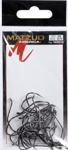 Treble Hook Matzuo Sickle - Matzuo Sickle Octopus Hook (Pack of 25), Black Chrome, 3/0