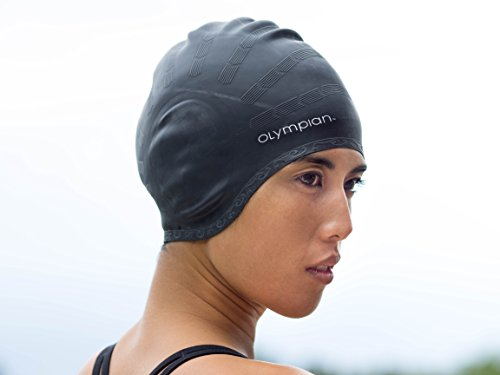 [BEST SWIM CAP FOR WOMEN WITH LONG HAIR, Olympian Swimming Caps Designed for Deluxe Comfort, Made with Premium Silicone to Protect Girls Hair, Colors are Black, Blue, &] (Swimming Costume For Womens)