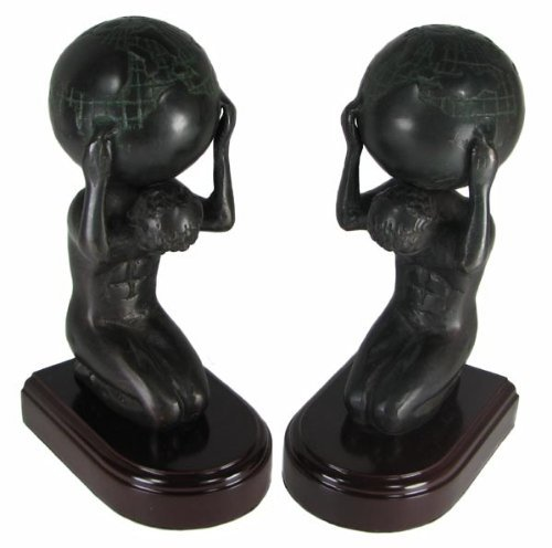 Bey-Berk R19A Cast Metal Atlas with Globe Bookends with Bronzed Finish on Wood Base. Brown