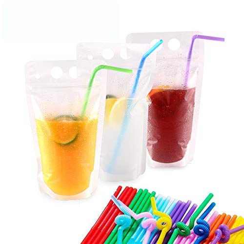(Plastic Drink Pouches with Straws 50 Pack Drink Bags Container 17oz Handheld Translucent Disposable Drinkware W/Gusset Bottom 50 Straws Included by NaYard)