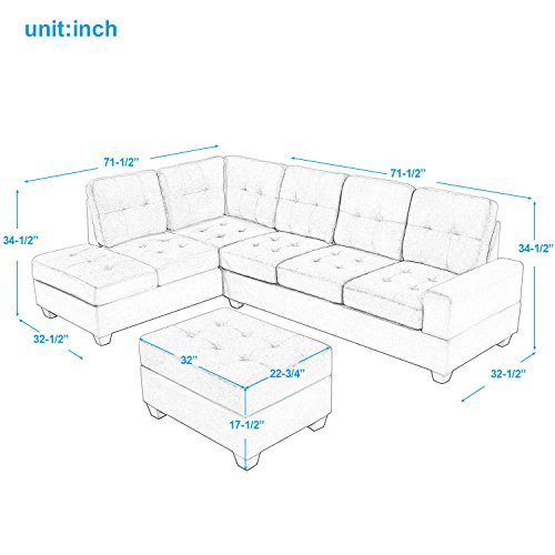 Harper & Bright Designs 3 Piece Sectional Sofa Microfiber with Reversible Chaise Lounge Storage Ottoman and Cup Holders (Blue Grey)