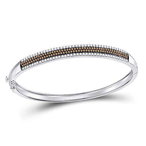 Mia Diamonds 14kt White Gold Womens Round Brown Color Enhanced Diamond Bangle Bracelet (1.42cttw) (I2-I3)