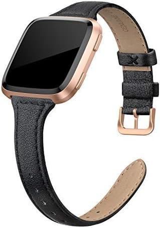 Fitbit Versa 2  Fitbit Versa Lite & SEFitbit Versa와 호환되는 SWEES 가죽 밴드 Versa 여성용 슬림하고 얇은 정품 가죽 교체 스트랩 (5.5 - 7.9) 블랙 샴페인 로즈 골드 탠 / Fitbit Versa 2  Fitbit Versa Lite & SEFitbit Versa와 호환되는 SWE...