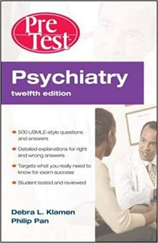 Kết quả hình ảnh cho Psychiatry PreTest Self-Assessment & Review, Twelfth Edition amazon