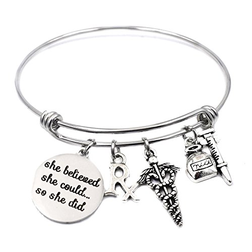 Miss Pink Stainless Steel Expandable Wire Bangle Pharmacy Pharmacist Bracelet RX Symbol Medical Caduceus Jewelry Gifts