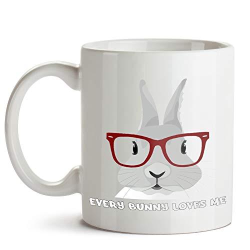 Appy Easter Girl Bunny With Glasses Swea 11 Oz Coffee Mugs ()