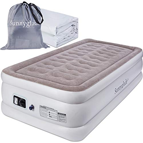 Sunnyglade Twin Size Comfort Air Mattress Durable Firm Bed Inflatable Airbed with Built-in Electric Pump (Twin Size 18)