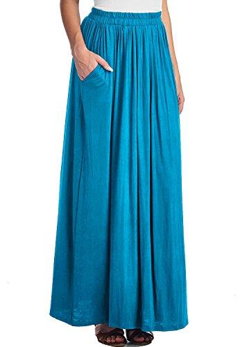 CoutureBridal Femme Jupe d't longue femme Maxi Jupe Spandex Bleu