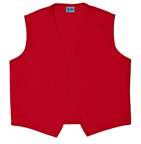 Unisex Vest (Style A740NP No Pocket Unisex Uniform Vest - Red, Small)