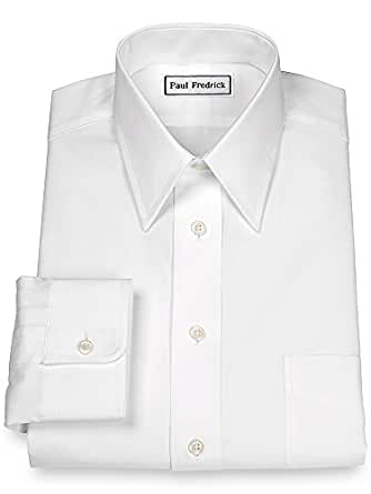 Paul fredrick men 39 s 2 ply cotton straight collar button Straight collar dress shirt