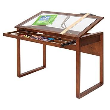 Studio Designs Wooden Glass Top Ponderosa Drafting Desk (STDN-13280)