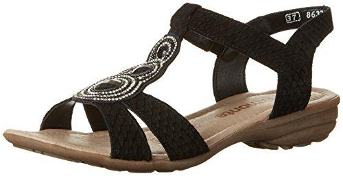 R3641 Remonte schwarz Cuña Schwarz con Sandalias 01 para Mujer Negro AHqRawH