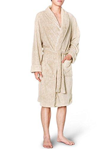Big Lebowski Dude Costume (Mens Plush Fleece Robe with Shawl Collar | Soft, Warm, Lightweight Spa Bath Robe Melange)