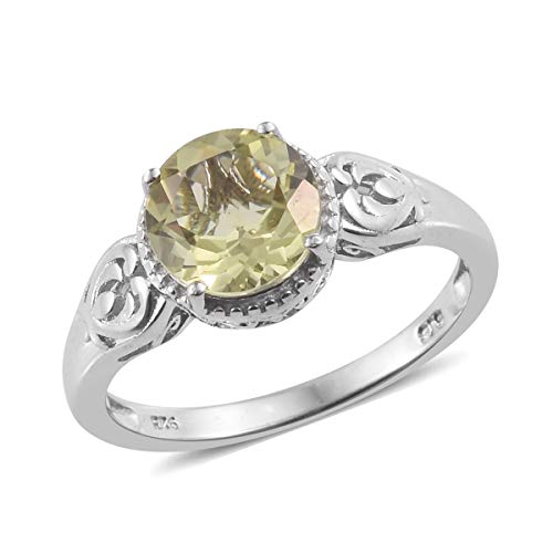 925 Sterling Silver Platinum Plated Round Green Gold Quartz Solitaire Ring for Women Jewelry Size 10 Cttw 1.9