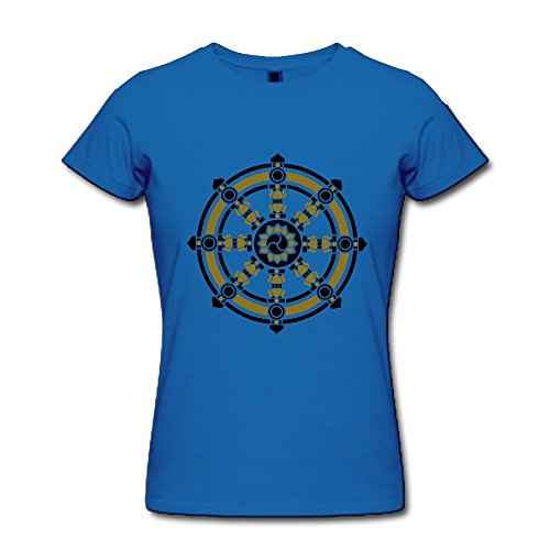 Fengzedid Dharmachakra Darma Wheel Of Law Buddhist Symbol Women's Short Sleeve Comfartable T ShirtSize XL Color Royalblue