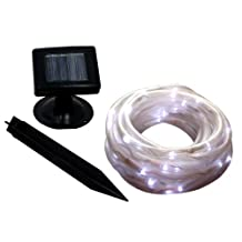 i-Zoom 50 White LED Solar Powered Holiday Rope Light, 16 Feet
