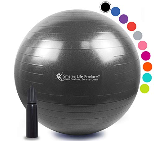 Exercise Ball for Yoga, Balance, Stability from SmarterLife - Fitness, Pilates, Birthing, Therapy, Office Ball Chair, Classroom Flexible Seating - Anti Burst, Non Slip + Workout Guide (Black, 75cm) (Best Balance Ball For Office)