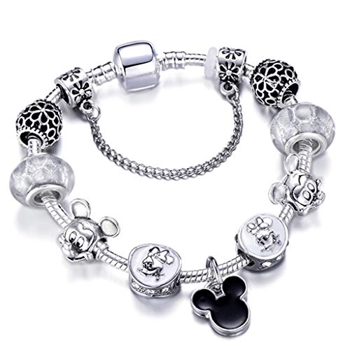Silver Color Mickey Series Charm Bracelet for Women and Kids Fashion Original Minnie Brand Bracelet Femme Jewelry