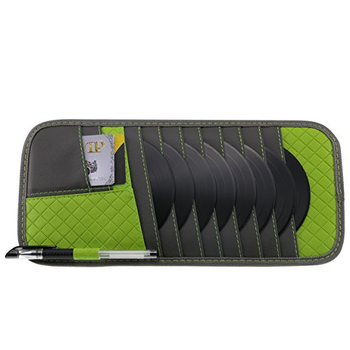 Vulcan-x Detachable Car CD DVD Case Auto Sun Visor Organizer for Cards Sunglasses Pen PU Material-Green