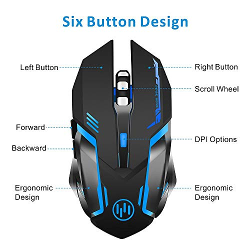 Wireless Gaming Mouse, Scettar Rechargeable Computer Gaming Mouse Unique Silent Click, 7 Breathing Led Light, 3 Adjustable DPI,Iron Plate, Power Saving Mode Wireless Mouse for Laptop/PC/Notebook