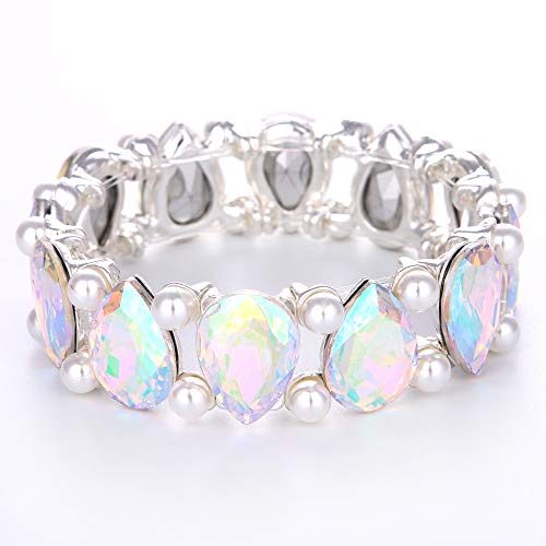 (Youfir Bridal Pearl and Crystal Teardrop Knot Elastic Stretch Bracelet for Brides Wedding Party(B-Pearl-Crystal AB) )