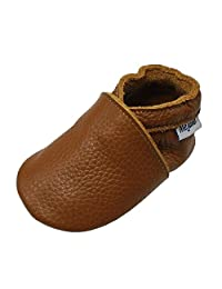 Mejale Baby Infant Toddler Crib Shoes Anti-slip Soft Sole Leather Shoes Pre-walker