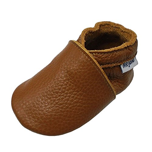 Mejale Baby Soft soled Leather Moccasins Anti-Slip Infant Toddler Shoes First Walkers(Brown,18-24 Mos) -