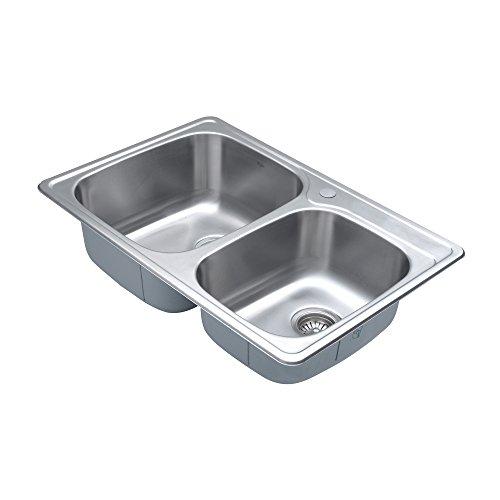 Kraus KTM32 33 inch Topmount 60/40 Double Bowl 18 gauge Stainless Steel Kitchen Sink by Kraus (Image #8)