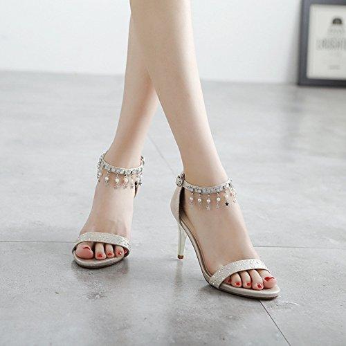 Mot Ronde Asakuchi D'été Chaussures B Talons Un Sandales Mode Boucle De Hauts Tête Femmes fqPIn0xAwx