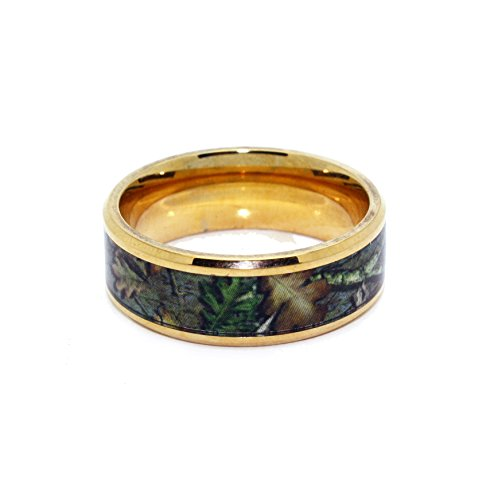 #1 Camo Yellow Gold Plated Rings - Camouflage Titanium Bands - Gold Wedding Ring - 8mm Ring Size 10 (Real Tree Wedding Ring Set)