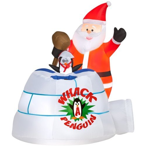 Gemmy Airblown Inflatable Santa Holding A Mallet Playing Whack-A-Penguin - Holiday Indoor Outdoor Decoration, 5-foot Tall