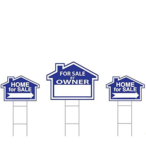 (Sam's Signs For Sale By Owner Sign Kit - 3 Double Sided Signs and 3 Heavy Duty H-Stakes - Blue Property Signs 18