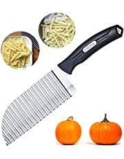 LaLiHa Garnishing Knife,Crinkle Cutter Potato Gadget Wavy Knife French Fry Home Kitchen Vegetable Chip Blade Chopper Cooking Tools