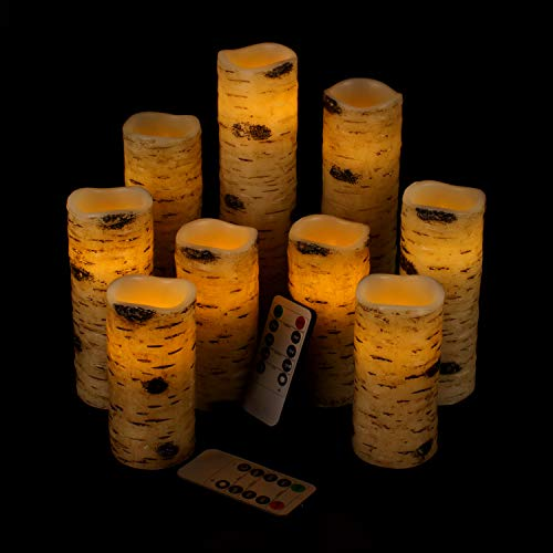"Vinkor Flameless Candles Battery Operated Candles Birch Effect 4"" 5"" 6"" 7"" 8"" 9"" Set of 9 Real Wax Pillar LED Candles with 10-Key Remote Control 2/4/6/8 Hours Timer"