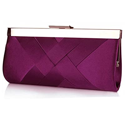 Womens Elegant Satin Cross Evening Clutch Purse Bag