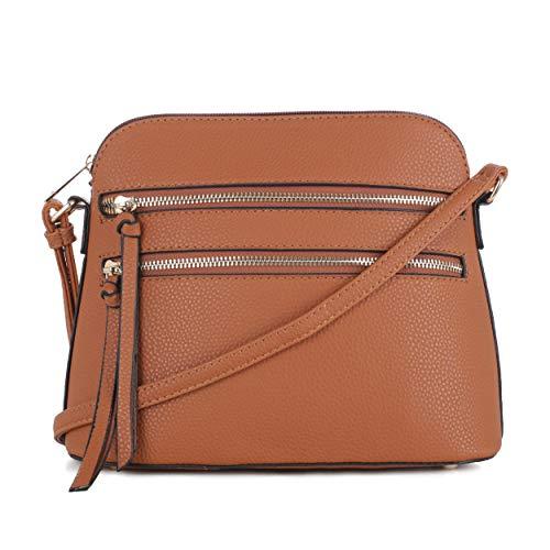SG SUGU Lightweight Medium Dome Crossbody Bag with Double Zipper Pockets for Woman   Tan