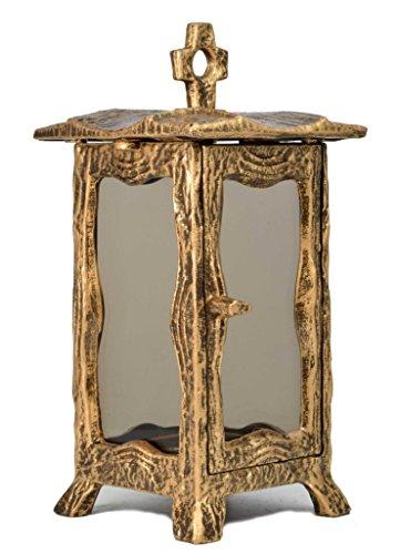 Paul Jansen Grableuchte eckig mit getönten Scheiben und Stehkreuz sowie leicht ausgestellten Füßen Höhe 25 cm, braun / gold