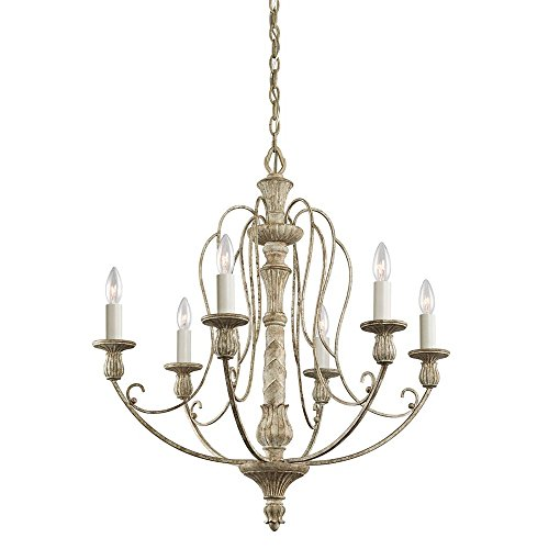 Kichler 43257DAW Hayman Bay Chandelier 6-Light, Distressed Antique White