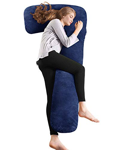 AngQi L Shaped Body Pillow with Navy Velvet Cover
