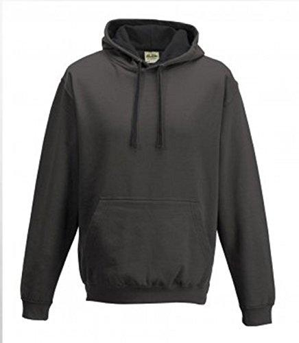 uomo Felpa grigio lunghe scuro antracite per cappuccio a carbone maniche nero con T0HTqrY