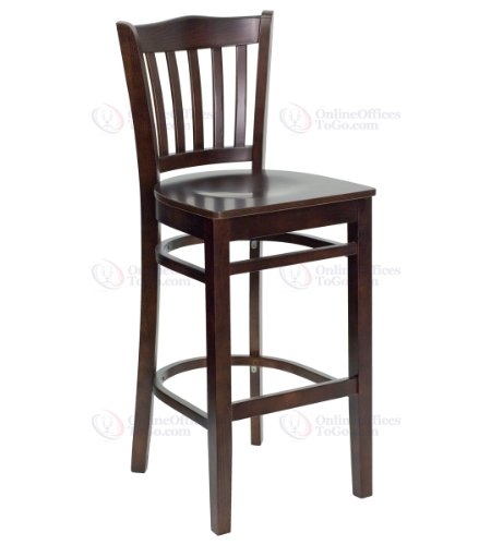 HERCULES Series Walnut Finished Vertical Slat Back Wooden Restaurant Bar Stool