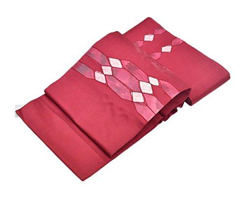 スクリューメタンまたはどちらかリサイクル 帯 名古屋帯 正絹 九寸 赤紫系 幾何学文様