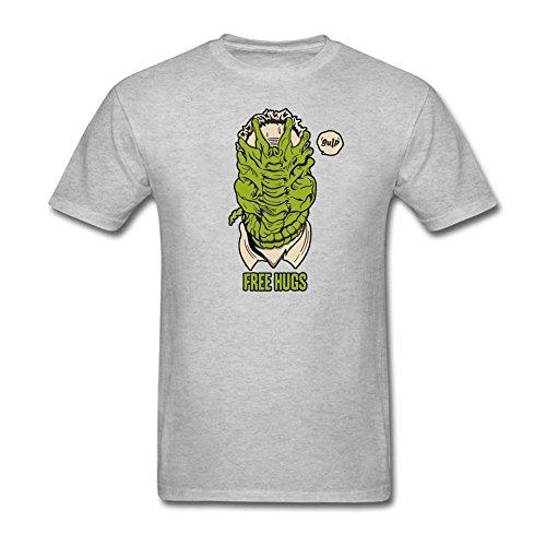 Lankiya Shirts Alien Facehugger Free Hugs Mens Natural Cotton T Shrits Grey L
