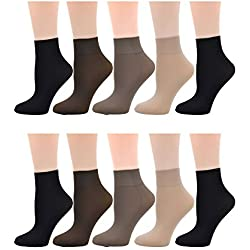 Ladies Women's 10 Pairs Pack Nylon Ankle High Short Socks Tights Hosiery Socks