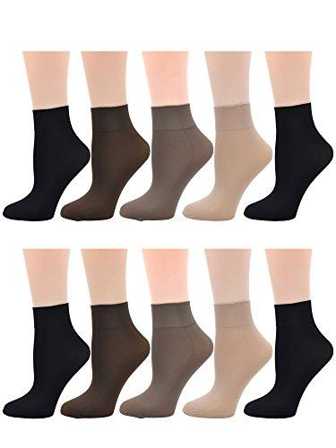 Ladies Women's 10 Pairs Pack Nylon Ankle High Short Socks Tights Hosiery Socks
