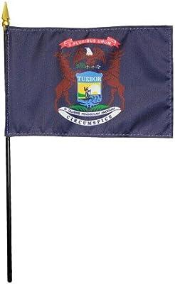 Michigan Estado 1911 mano escritorio mesa bandera de poliéster 4